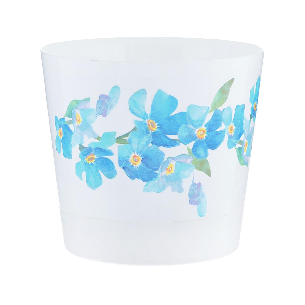 Кашпо Idea Ника. Деко, с прикорневым поливом, с поддоном, цвет: белый, голубой, 0,8 лМ 3076Любой, даже самый современный и продуманный интерьер будет не завершённым без растений. Они не только очищают воздух и насыщают его кислородом, но и заметно украшают окружающее пространство. Такому полезному &laquo члену семьи&raquoпросто необходимо красивое и функциональное кашпо, оригинальный горшок или необычная ваза! Мы предлагаем - Кашпо 0,8 л Ника деко d=12 см , с прикорневым поливом, голубые цветы!Оптимальный выбор материала &mdash &nbsp пластмасса! Почему мы так считаем? Малый вес. С лёгкостью переносите горшки и кашпо с места на место, ставьте их на столики или полки, подвешивайте под потолок, не беспокоясь о нагрузке. Простота ухода. Пластиковые изделия не нуждаются в специальных условиях хранения. Их&nbsp легко чистить &mdashдостаточно просто сполоснуть тёплой водой. Никаких царапин. Пластиковые кашпо не царапают и не загрязняют поверхности, на которых стоят. Пластик дольше хранит влагу, а значит &mdashрастение реже нуждается в поливе. Пластмасса не пропускает воздух &mdashкорневой системе растения не грозят резкие перепады температур. Огромный выбор форм, декора и расцветок &mdashвы без труда подберёте что-то, что идеально впишется в уже существующий интерьер.Соблюдая нехитрые правила ухода, вы можете заметно продлить срок службы горшков, вазонов и кашпо из пластика: всегда учитывайте размер кроны и корневой системы растения (при разрастании большое растение способно повредить маленький горшок)берегите изделие от воздействия прямых солнечных лучей, чтобы кашпо и горшки не выцветалидержите кашпо и горшки из пластика подальше от нагревающихся поверхностей.Создавайте прекрасные цветочные композиции, выращивайте рассаду или необычные растения, а низкие цены позволят вам не ограничивать себя в выборе.