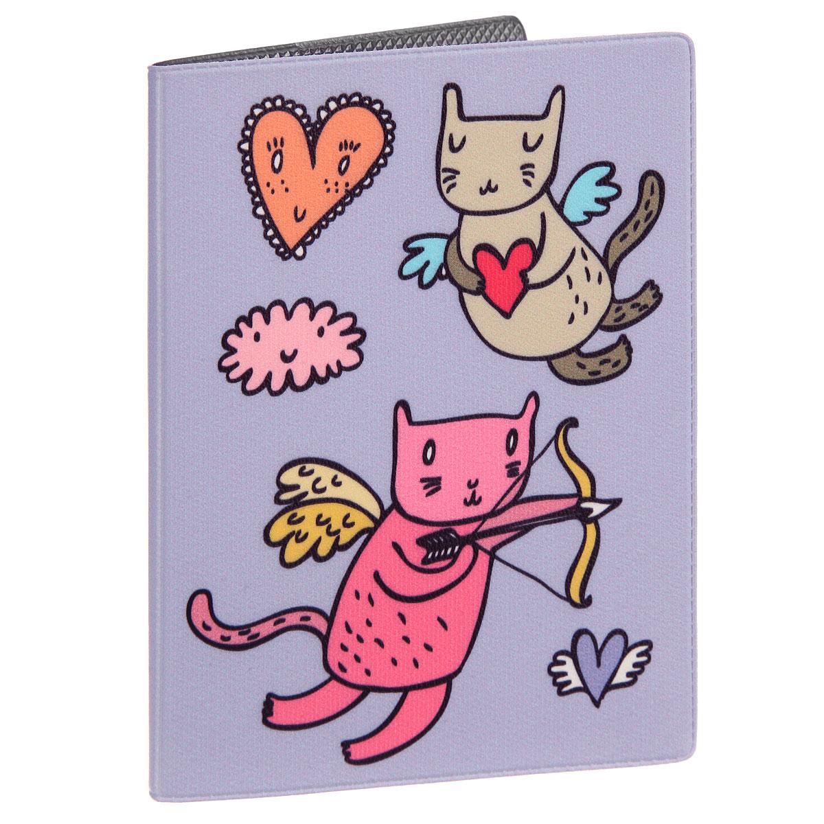Обложка для паспорта Коты-амуры на сиреневом. OZAM359 обложка для паспорта коты амуры на сиреневом ozam359