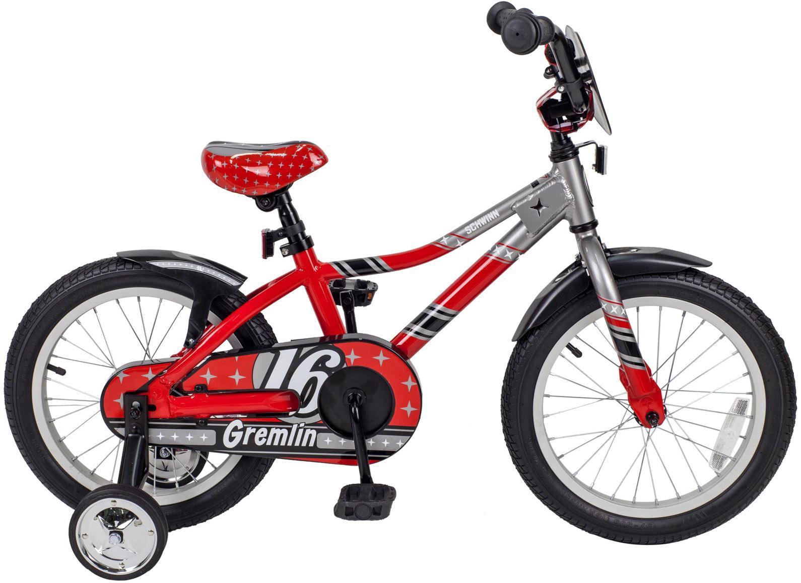 Велосипед детский Schwinn Gremlin (2015) Red-Silver43243Schwinn Gremlin 2015 года – это детский велосипед начального уровня для мальчиков, рассчитанный на возраст от 4 до 6 лет. Яркая, красивая и оригинальная модель доступна в двух цветах. Обладая такими визуальными достоинствами, велосипед остается комфортным и безопасным в использовании. Ребенку будет очень удобно и просто на нем кататься, ведь он оборудован ножным тормозом и не имеет переключения передач. Бренд Schwinn – это качество! Gremlin обязательно понравится вам и вашему ребенку!Вилка: SchwinnСедло: Schwinn Sidewalk KidsЦепь: KMC Z410Спицы: Stainless 14gЗадняя втулка: SchwinnЗадняя покрышка: SchwinnПередняя покрышка: SchwinnРазмер рамы: 16.0Какой велосипед выбрать? Статья OZON Гид