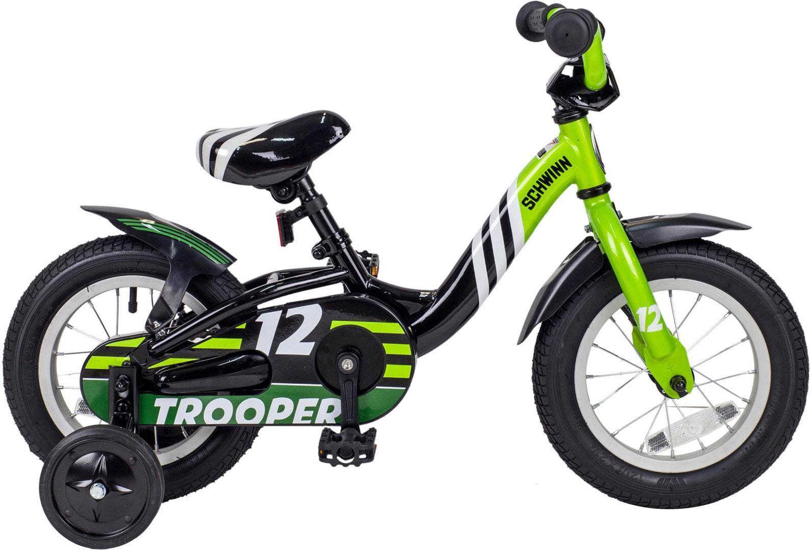 Велосипед детский SCHWINN Trooper 12, цвет: черный, зелёный schwinn sprite 2014
