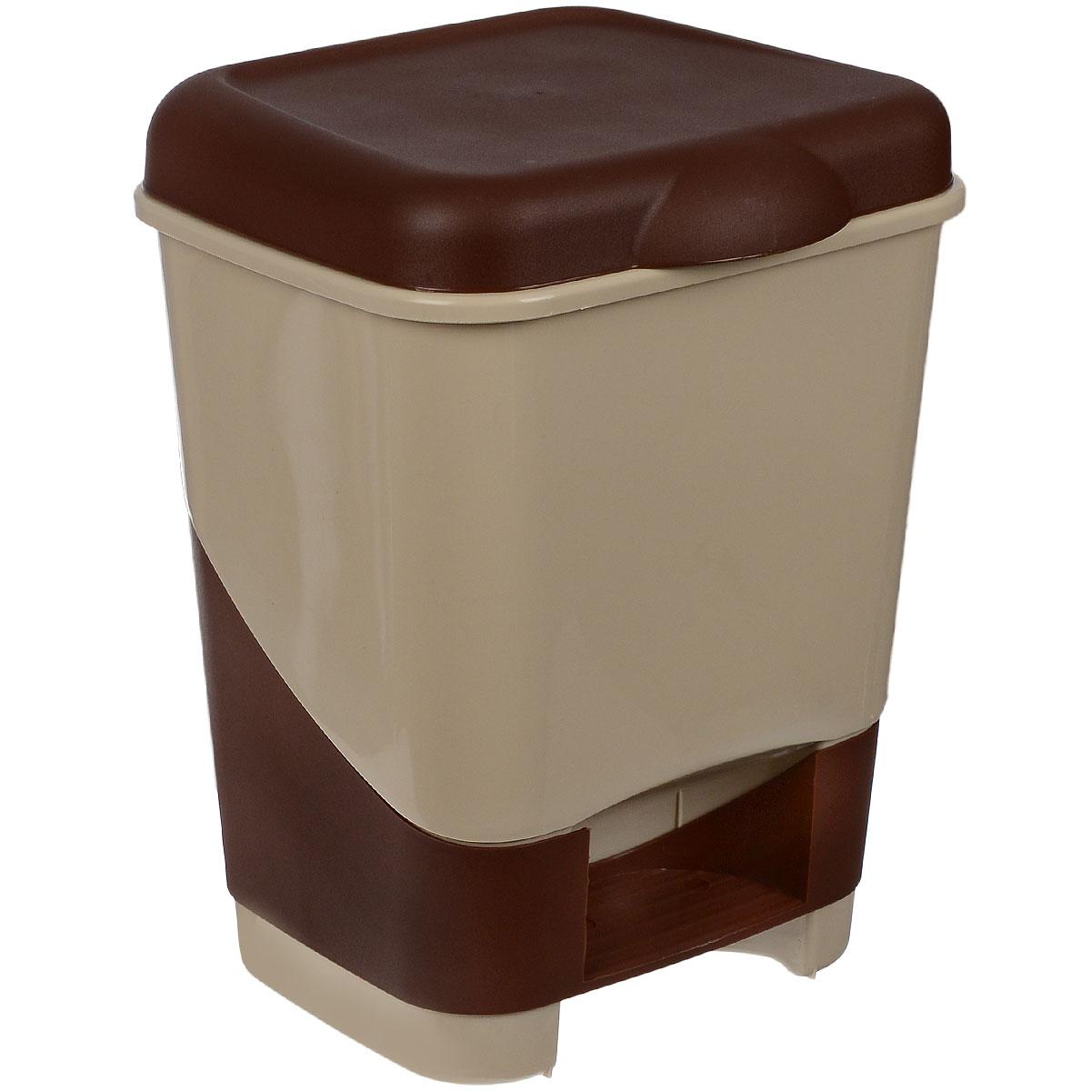 Контейнер для мусора Полимербыт, с педалью, цвет: бежевый, коричневый, 20 лС428Контейнер для мусора Полимербыт изготовлен из высококачественного цветного пластика. Контейнер оснащен педалью, с помощью которой можно открыть крышку. Крышка плотно прилегает, предотвращая распространение запаха. Бороться с мелким мусором станет легко.Контейнер для мусора Полимербыт - это не только емкость для хранения мусора, но и яркий предмет декора, который оригинально украсит интерьер кухни или ванной комнаты.