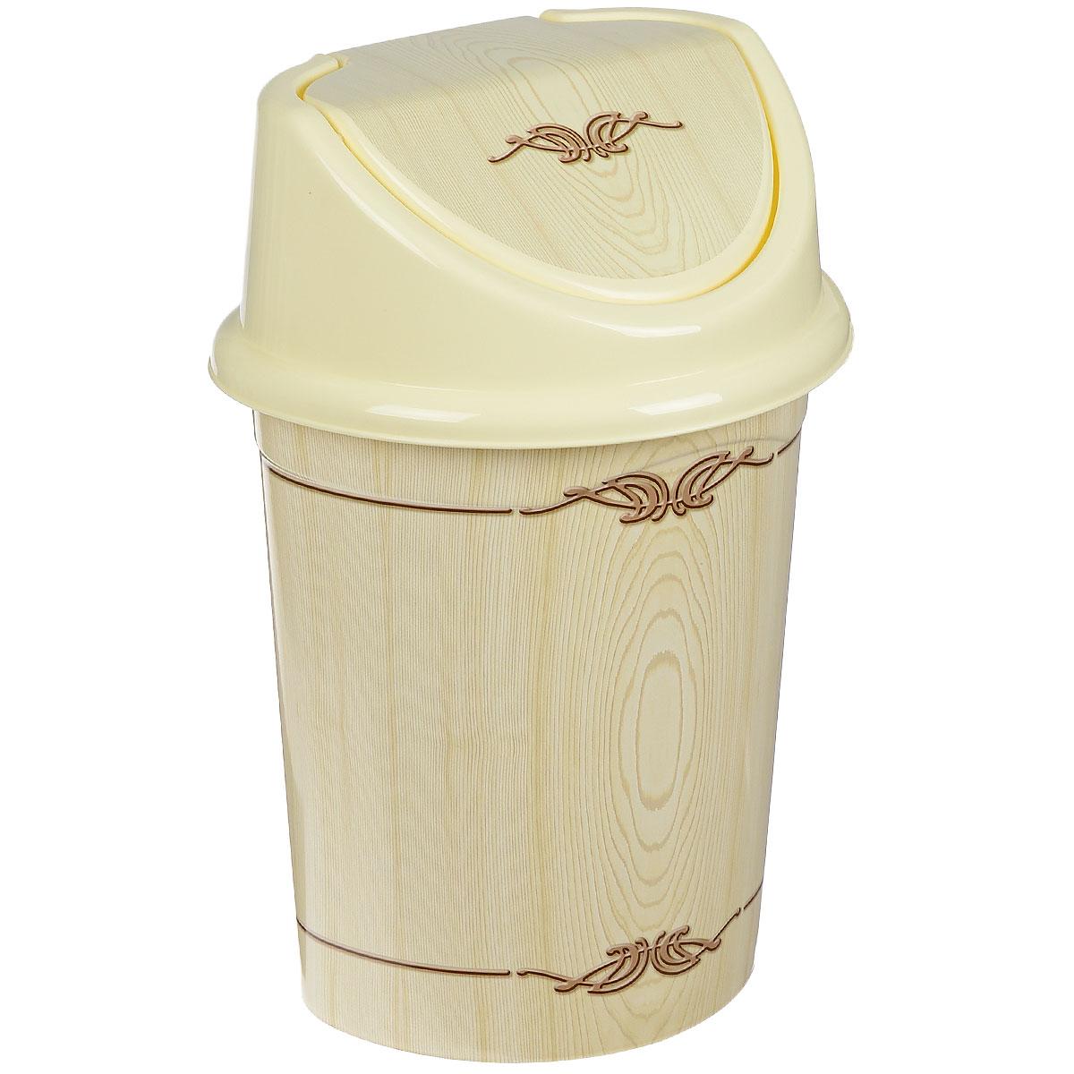 Контейнер для мусора Violet Беленый дуб, цвет: слоновая кость, коричневый, 14 л810405Контейнер для мусора Violet Беленый дуб изготовлен из прочного пластика. Контейнер снабжен удобной съемной крышкой с подвижной перегородкой. В нем удобно хранить мелкий мусор. Благодаря лаконичному дизайну такой контейнер идеально впишется в интерьер и дома, и офиса.Высота контейнера без крышки: 33,5 см.