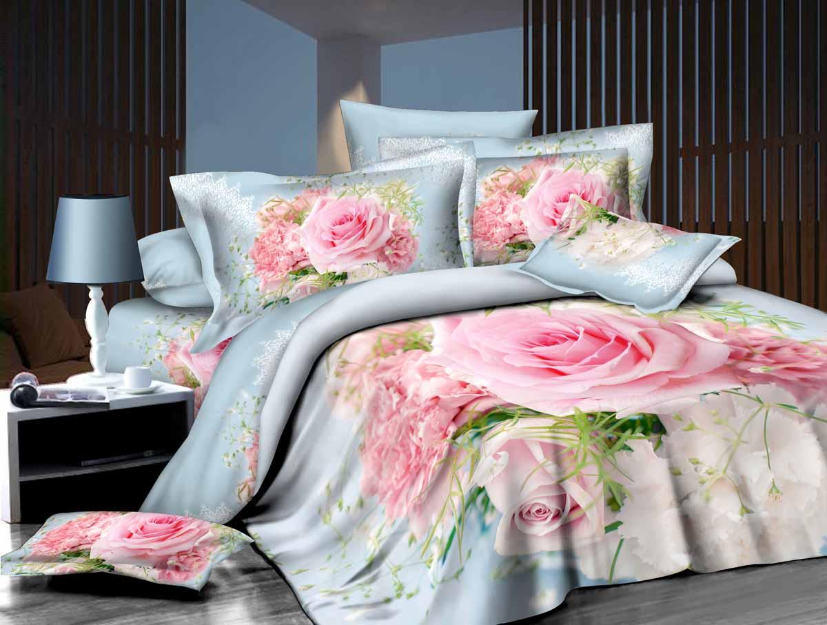 Комплект белья 3D Mango, 1,5-спальный, наволочки 70х70, цвет: светло-голубой, розовый, зеленый. M-623-143-150-70M-623-143-150-70Комплект постельного белья Mango является экологически безопасным для всей семьи, так как выполнен из высококачественного сатина (100% хлопка). Комплект состоит из пододеяльника на молнии, простыни и двух наволочек. Постельное белье оформлено ярким рисунком цветов с эффектом 3D и имеет изысканный внешний вид. Сатин - производится из высших сортов хлопка, а своим блеском, легкостью и на ощупь напоминает шелк. Постельное белье из сатина превращает жаркие летние ночи в прохладные и освежающие, а холодные зимние - в теплые и согревающие. Благодаря натуральному хлопку, постельное белье из сатина приобретает способность пропускать воздух, давая возможность телу дышать. Одно из преимуществ материала в том, что он практически не мнется и ваша спальня всегда будет аккуратной и нарядной.