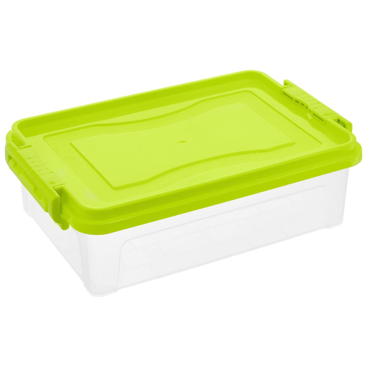 Контейнер для хранения Idea, прямоугольный, цвет: прозрачный, салатовый, 3,6 л