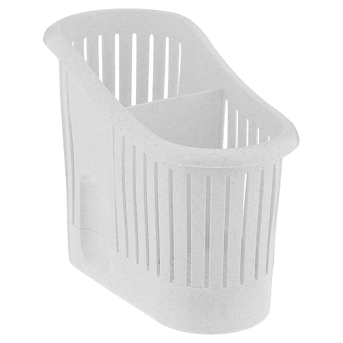Сушилка для столовых приборов Curver, 2-х секционная, цвет: мраморный3412Сушилка для столовых приборов Curver, выполненная из высококачественного пластика, станет полезным приобретением для вашей кухни. Сушилка имеет две секции для разных видов столовых приборов. Дно и стенки имеют перфорацию для легкого стока жидкости, которую собирает поднос. Такая сушилка поможет аккуратно рассортировать все столовые приборы и тем самым поддерживать порядок на кухне.