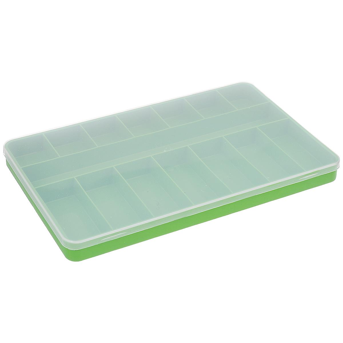 Коробка для мелочей Trivol, цвет: зеленый, прозрачный, 23,5 х 15 х 2 см677255Коробка для мелочей Trivol изготовлена из высококачественного пластика. Прозрачная крышка позволяет видеть содержимое коробки. Изделие имеет 15 ячеек разного размера. Коробка прекрасно подойдет для хранения швейных принадлежностей, рыболовных снастей, мелких деталей и других бытовых мелочей. Удобный и надежный замок-защелка обеспечивает надежное закрывание крышки. Коробка легко моется и чистится. Такая коробка поможет держать вещи в порядке.Размер самой маленькой ячейки: 3,5 см х 4 см х 2 см.Размер самой большой ячейки: 22,5 см х 3 см х 2 см.