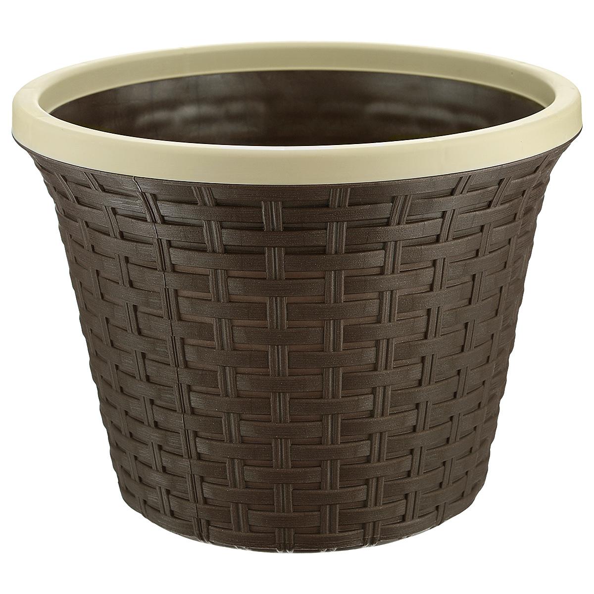 Кашпо Violet Ротанг, с дренажной системой, цвет: коричневый, 6,5 л32650/1Кашпо Violet Ротанг изготовлено из высококачественного пластика и оснащено дренажной системой для быстрого отведения избытка воды при поливе. Изделие прекрасно подходит для выращивания растений и цветов в домашних условиях. Лаконичный дизайн впишется в интерьер любого помещения.Объем: 6,5 л.