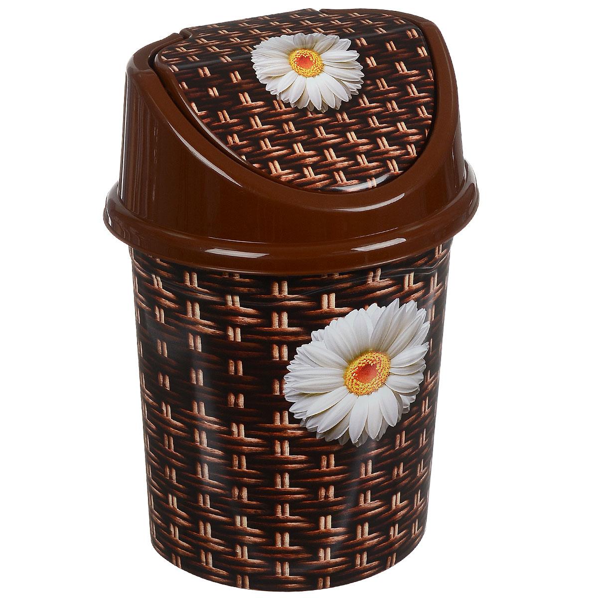 Контейнер для мусора Violet Плетенка, цвет: коричневый, белый, желтый, 8 л810382Контейнер для мусора Violet Плетенка выполнен из пластика и декорирован ярким рисунком. Такой аксессуар очень удобен в использовании, как дома, так и в офисе. Оснащен крышкой с подвижной перегородкой.Размер контейнера (без учета крышки): 25 см х 20 см х 26 см.