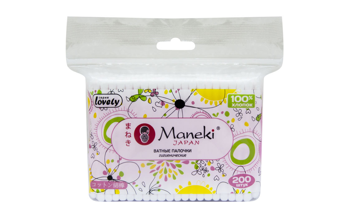 Maneki Палочки ватные гигиен. Lovely, с розовым пластиковым стиком, в zip-пакете, 200 шт.CB920Палочки ватные гигиенические с розовым пластиковым стиком в упаковке с zip-замком. Идеально подходят для гигиенических и косметических целей. Оригинальный дизайн упаковки, в упаковке 200 палочек из 100% хлопка.
