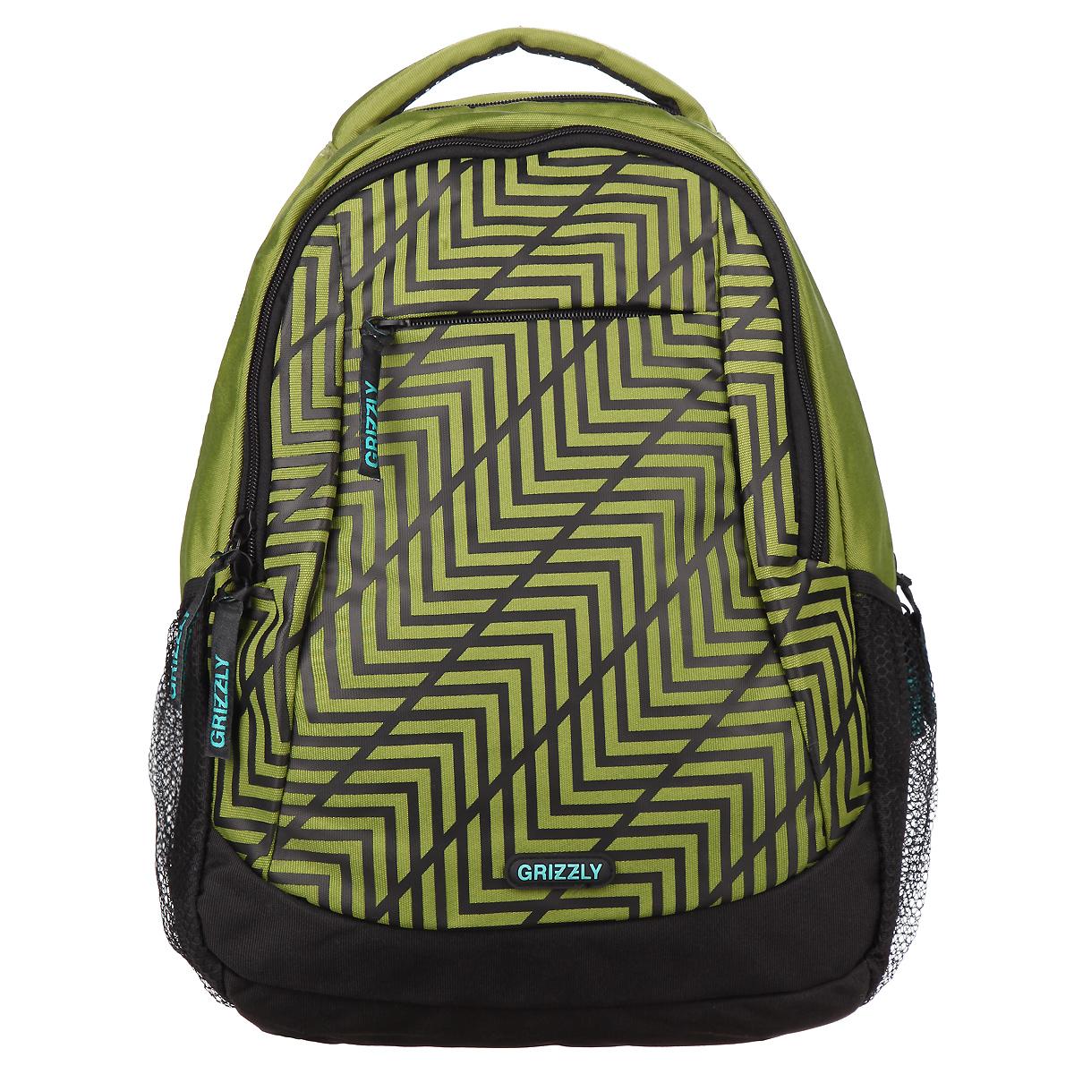 Рюкзак городской Grizzly, цвет: оливковый, черный. RU-601-2