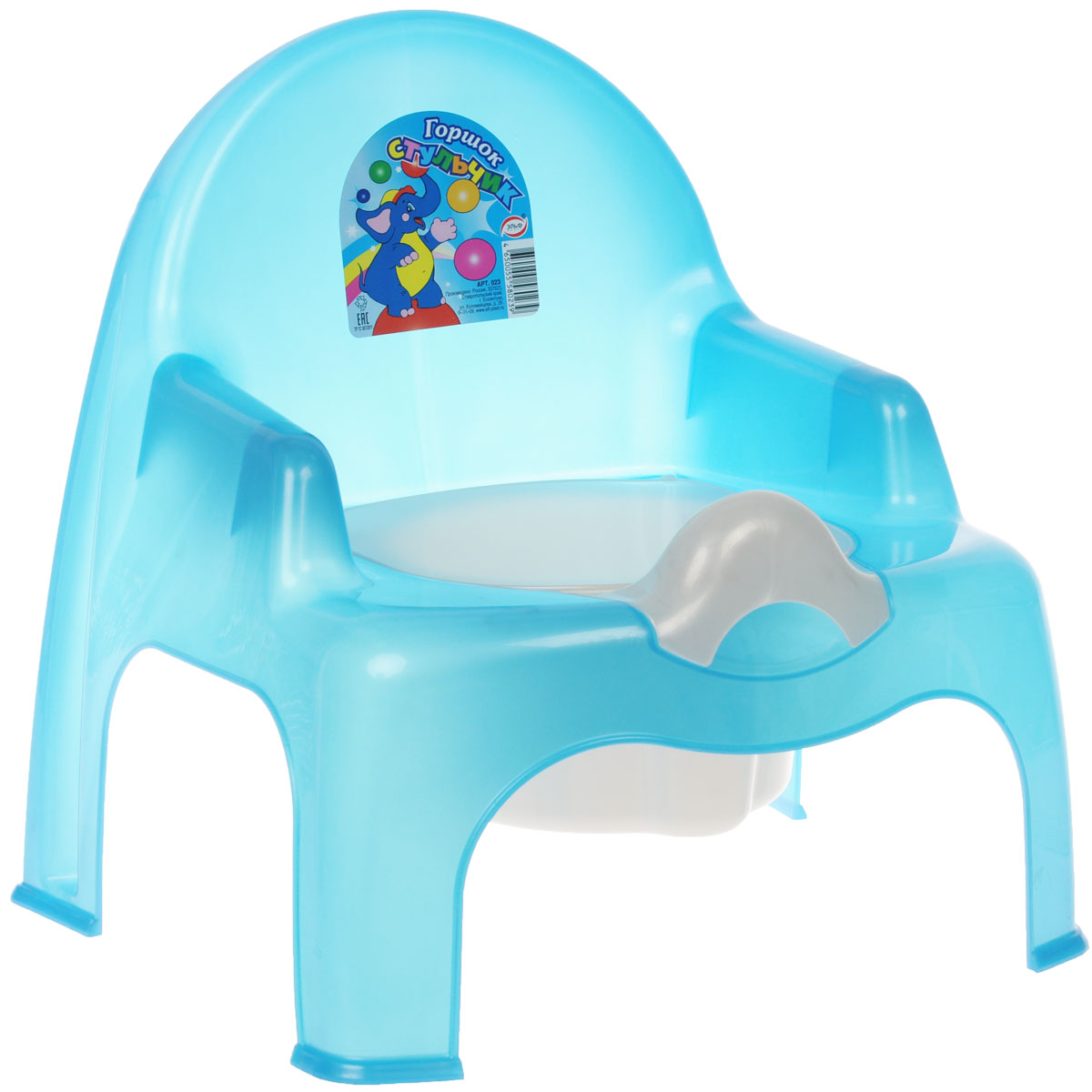 Эльфпласт Горшок-стульчик, с крышкой, цвет: голубой -  Горшки и адаптеры для унитаза