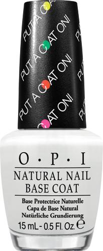OPIБазовое покрытие для ярких оттенков лака «OPI Natural Nail Base Coat- Put a Coat On!», 15 мл opi покрытие верхнее быстрая сушка rapidry top coat 15 мл