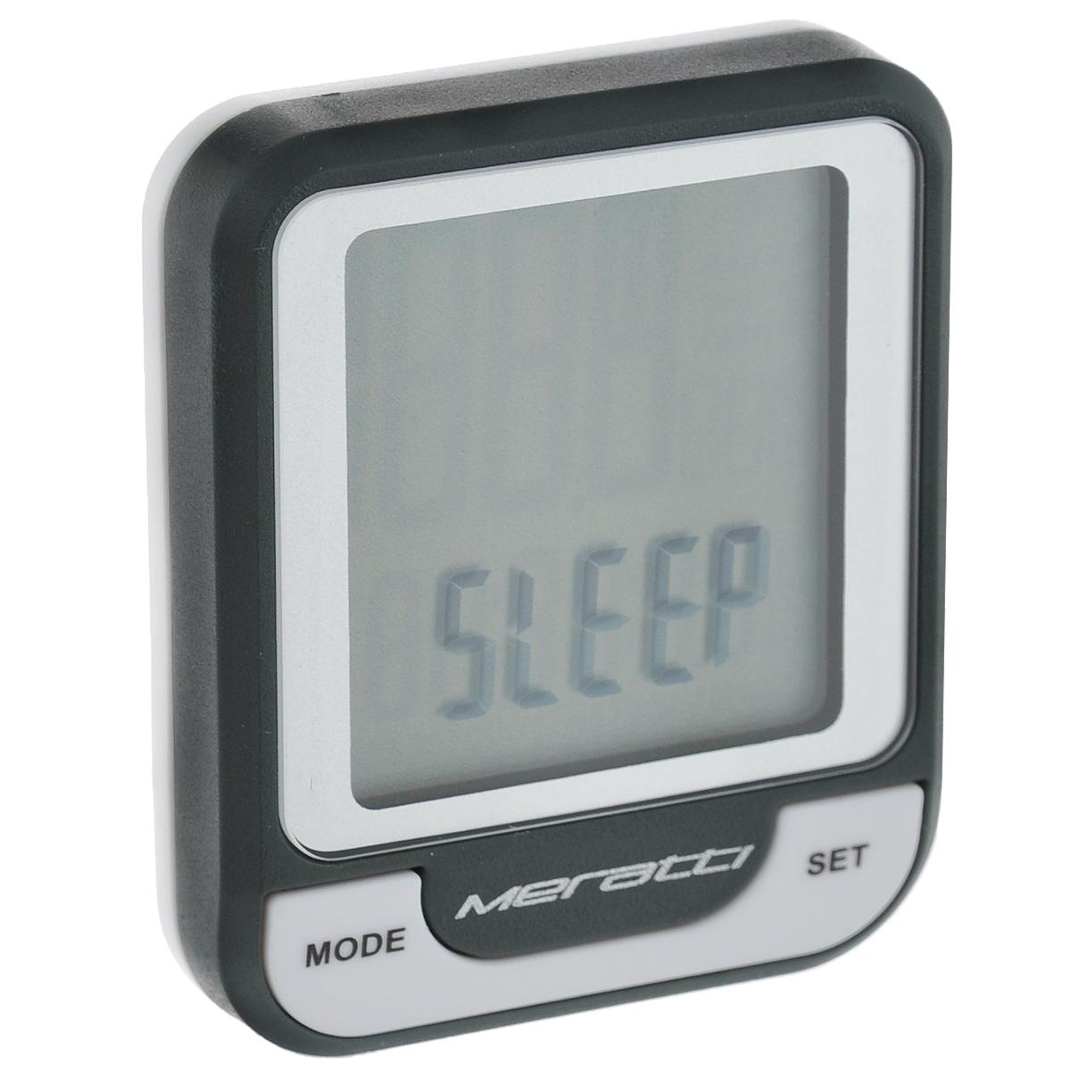 Велокомпьютер беспроводной Meratti, цвет: черный, серыйC016Беспроводной велокомпьютер Meratti выполнен из высококачественного прочного ПВХ. Компьютер питается от 1 батарейки CR2032 (в комплекте). Показания монитора: время (часы, минуты, секунды), скорость, средняя скорость, максимальная скорость, тенденция скорости, время поездки, суммарное время пробега, общий пробег, общий расход калорий. Режимы: SCAN.