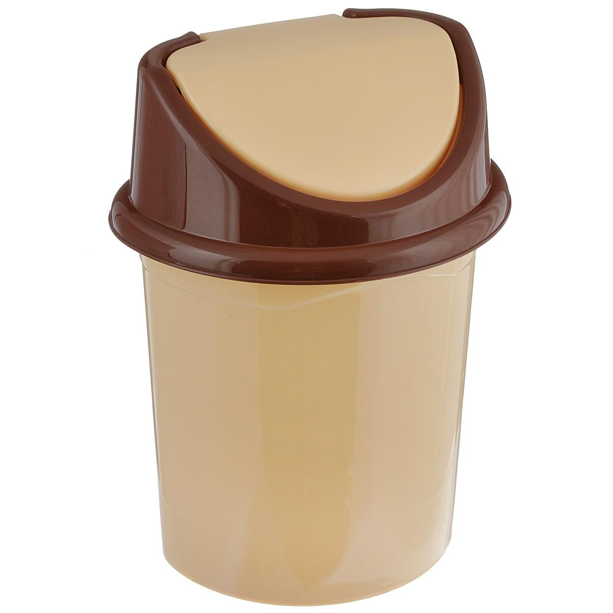Контейнер для мусора Violet, цвет: бежевый, коричневый, 4 л0404/2Контейнер для мусора Violet изготовлен из прочного пластика и снабжен удобной съемной крышкой с подвижной перегородкой. В нем удобно хранить мелкий мусор. Благодаря лаконичному дизайну такой контейнер идеально впишется в интерьер и дома, и офиса.Размер изделия: 16 см x 20 см x 27 см.