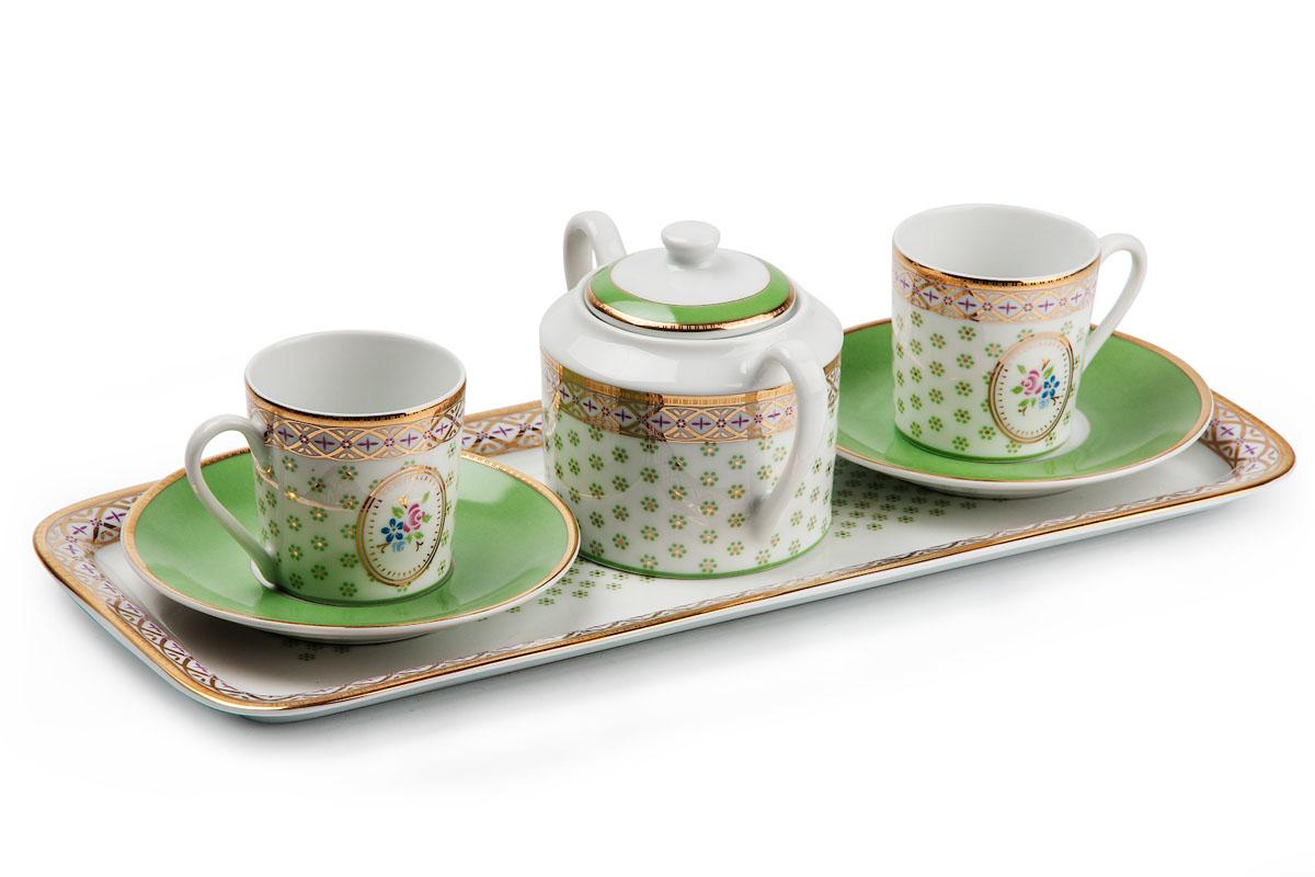 Набор кофейный La Rose des Sables, цвет: фисташковый, 6 предметов539105 536Набор кофейный La Rose des Sables изготовлен из фарфора.В набор входят: сахарница , две чашки, два блюдца, поднос.Кофейный набор будет отлично смотреться как в современноминтерьере, так и в классических стилях оформления дома и создаст прекрасную атмосферу.Объем чашки: 90 мл.
