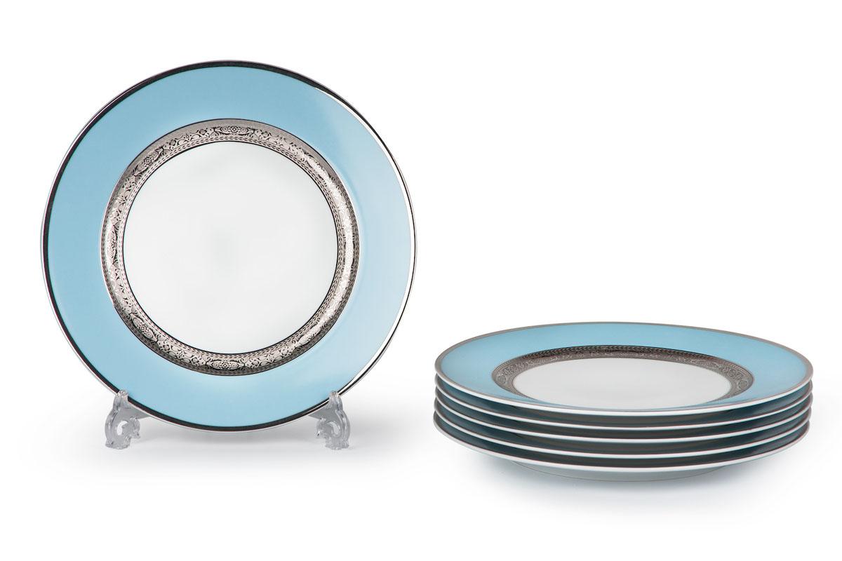 Mimosa 1626, набор тарелок 27см (6шт), цвет: бело-голубой с платиной539116 1626В наборе тарелка 27 см 6 штук Материал: фарфор: цвет: бело-голубой с платинойСерия: MIMOSA
