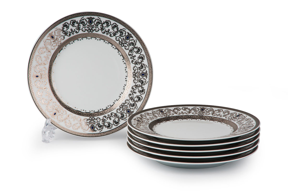 Mimosa 1647, набор тарелок 27см (6 шт), цвет: белый с платиной539116 1647В наборе тарелка 27 см 6 штук Материал: фарфор: цвет: белый с платинойСерия: Prague Platine