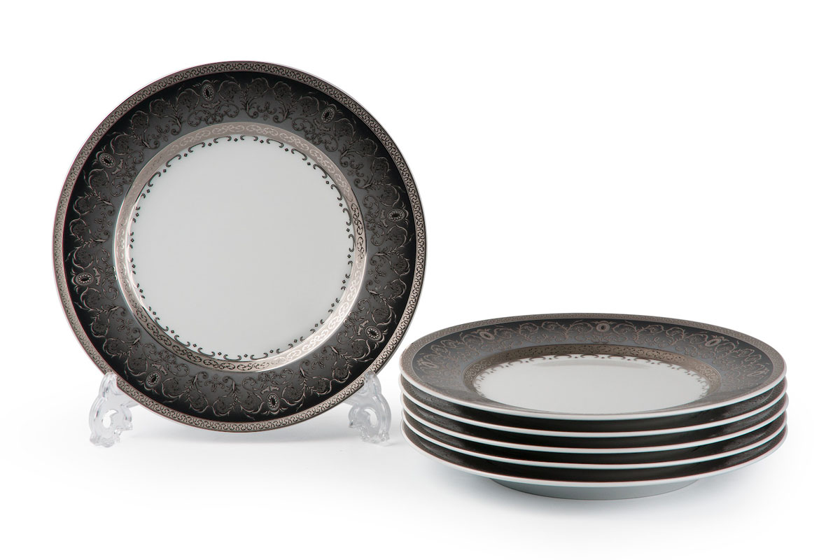 Mimosa, Prague Gris 1743, набор тарелок 27 см (6шт), цвет: черно-белый с платиной539116 1743В наборе тарелка 27 см 6 штук Материал: фарфор: цвет: черно-белый с платинойСерия: MIMOSA