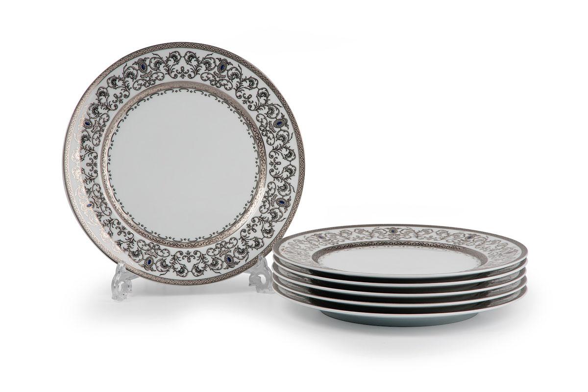 Mimosa 1647, набор тарелок 22см (6 шт), цвет: белый с платиной539117 1647В наборе тарелка 22 см 6 штук Материал: фарфор: цвет: белый с платинойСерия: Prague Platine