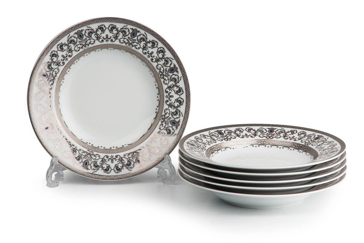 Mimosa 1647, набор глубоких тарелок (6 шт), цвет: белый с платиной539124 1647В наборе глубокая тарелка 6 штук Материал: фарфор: цвет: белый с платинойСерия: Prague Platine