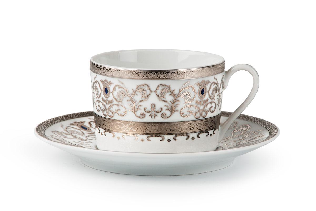 Mimosa 1647 набор чайных пар 220мл*6шт (12пр), цвет: белый с платиной539506 1647Чайная пара 220 мл * 6 штук/ 12 предметов Материал: фарфор: цвет: белый с платинойСерия: Prague Platine
