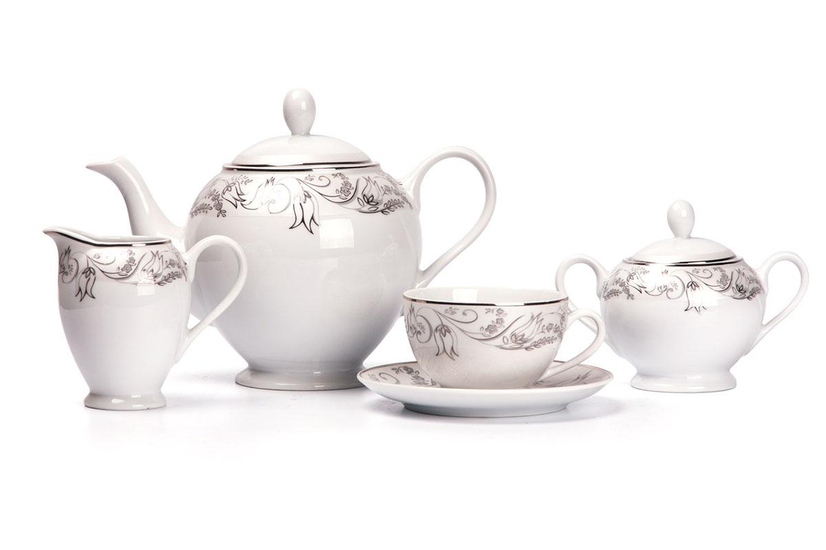Mimosa 1589 сервиз чайный 15пр, цвет: белый с платиной539510 1589Чайник 1,2л, сахарница 250мл, молочник 220мл, чайная пара 200 мл *6 штук. Фарфор фабрики Tunisie Porcelaine, производится в Тунисе из знаменитой своим качеством и белизной глины, добываемой во французской провинции Лимож.Преимущества этого фарфора заключаются в устойчивости к сколам и трещинам, что возможно благодаря двойному термическому обжигу. Европейский дизайн, декор и формы обеспечиваются за счет тесного сотрудничества фабрики с ведущими мировыми дизайн-бюро такими как: Nelly Reynal, Yves De la Rosiere, Sarah Anderson, Heracles. Материал: фарфор: цвет: белый с платинойСерия: MIMOSA