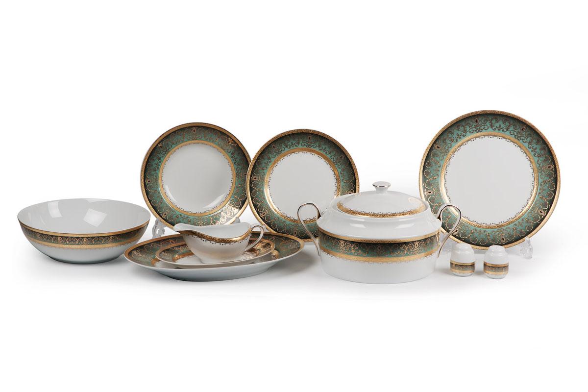 Mimosa Prague Degrade 1643, сервиз столовый 25 предметов, цвет: бело-зеленый с золотом539825 1643Супница 3,5 л , глубокая тарелка 22 см 6 штук , тарелка 27см 6 штук , десертная тарелка 21см 6 штук , солонка, перечница, Блюдо овальное 24 см, Блюдо овальное 35 см , салатник 25см, соусник 230мл.Элегантная посуда класса люкс теперь на вашем столе каждый день. Сделанные из высококачественного материала с использованием новейших технологий, предметы сервировки Tunisie Porcelaine невероятно прочны и прекрасно подходят для повседневного использования. Материал: фарфор: цвет: бело-зеленый с золотомСерия: MIMOSA