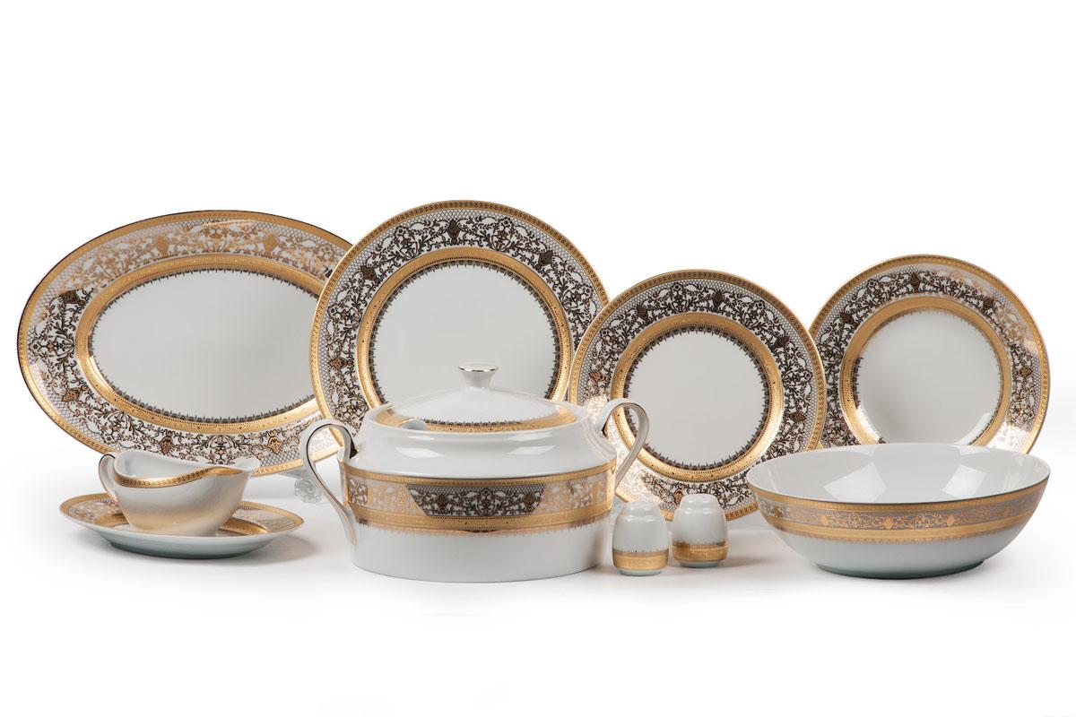 Сервиз столовый La Rose des Sables Mimosa 1645, 25 предметов539825 1645Супница 3,5 л , глубокая тарелка 22 см 6 штук , тарелка 27см 6 штук , десертная тарелка 21см 6 штук , солонка, перечница, блюдо овальное 24 см, блюдо овальное 35 см , салатник 25см, соусник 230мл.Элегантная посуда класса люкс теперь на вашем столе каждый день. Сделанные из высококачественного материала с использованием новейших технологий, предметы сервировки Tunisie Porcelaine невероятно прочны и прекрасно подходят для повседневного использования. Материал: фарфор, цвет: белый с золотом