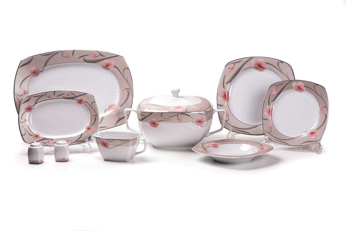 Сервиз столовый La Rose des Sables Oasis, 24 предмета579025 1569Сервиз столовый La Rose des Sables Oasis состоит из 6 обеденных тарелок, 6 десертных тарелок, 6 суповых тарелок, 2 овальных блюд, супницы с крышкой, соусника, солонки и перечницы. Посуда выполнена из высококачественного тунисского фарфора, изготовленного из уникальной белой глины. На всех изделиях La Rose des Sables можно увидеть маркировку Pate de Limoges. Это означает, что сырье для изготовления фарфора добывают во французской провинции Лимож, и качество соответствует высоким европейским стандартам. Все производство расположено в Тунисе. Особые свойства этой глины, открытые еще в 18 веке, позволяют создать удивительно тонкую, легкую и при этом прочную посуду. Благодаря двойному термическому обжигу фарфор обладает высокой ударопрочностью, стойкостью к сколам и трещинам, жаропрочностью и великолепным блеском глазури. Коллекция Oasis - это изысканная классика, дополненная нежным цветочным узором. Яркие розовые цветы и блестящая позолота на нежном фоне цвета пепельной розы приковывают к себе взгляды. Эта посуда станет настоящим украшением вашего стола. Прекрасный вариант для праздничной сервировки стола. Не рекомендуется использовать в СВЧ печи и мыть в посудомоечной машине. Диаметр десертной тарелки: 21 см. Диаметр обеденной тарелки: 26 см. Диаметр суповой тарелки: 22 см. Размер овальных блюд: 24 см; 36 см. Объем супницы: 3,5 л. Объем соусника: 230 мл. Объем солонки и перечницы: 50 мл.