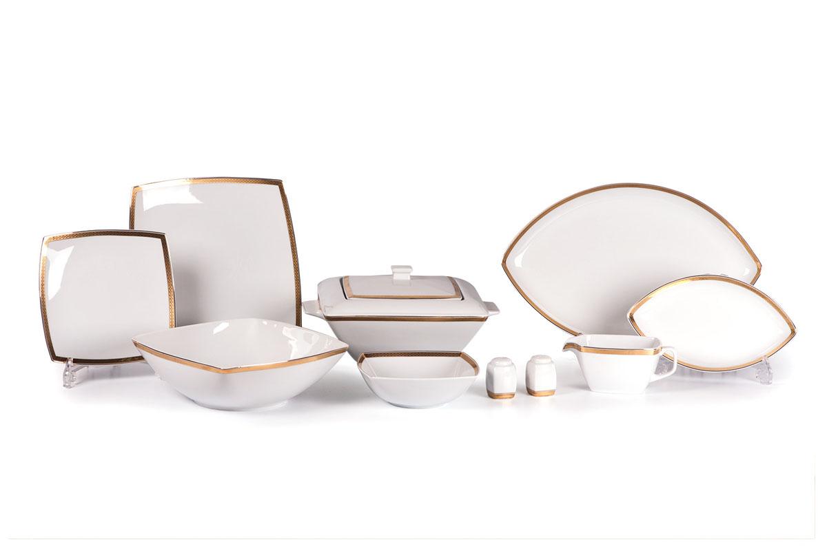 Kyoto 1555 столовый сервиз 25 пр. золото , цвет: белый с золотом719125 1555Супница 2,8 л , глубокая тарелка 22 см 6 штук , тарелка 26 см 6 штук , десертная тарелка 20 см 6 штук , солонка, перечница, Блюдо овальное 25 см, Блюдо овальное 40 см , салатник 25см, соусник 230мл.Элегантная посуда класса люкс теперь на вашем столе каждый день. Сделанные из высококачественного материала с использованием новейших технологий, предметы сервировки Tunisie Porcelaine невероятно прочны и прекрасно подходят для повседневного использования. Материал: фарфор: цвет: белый с золотомСерия: KYOTO