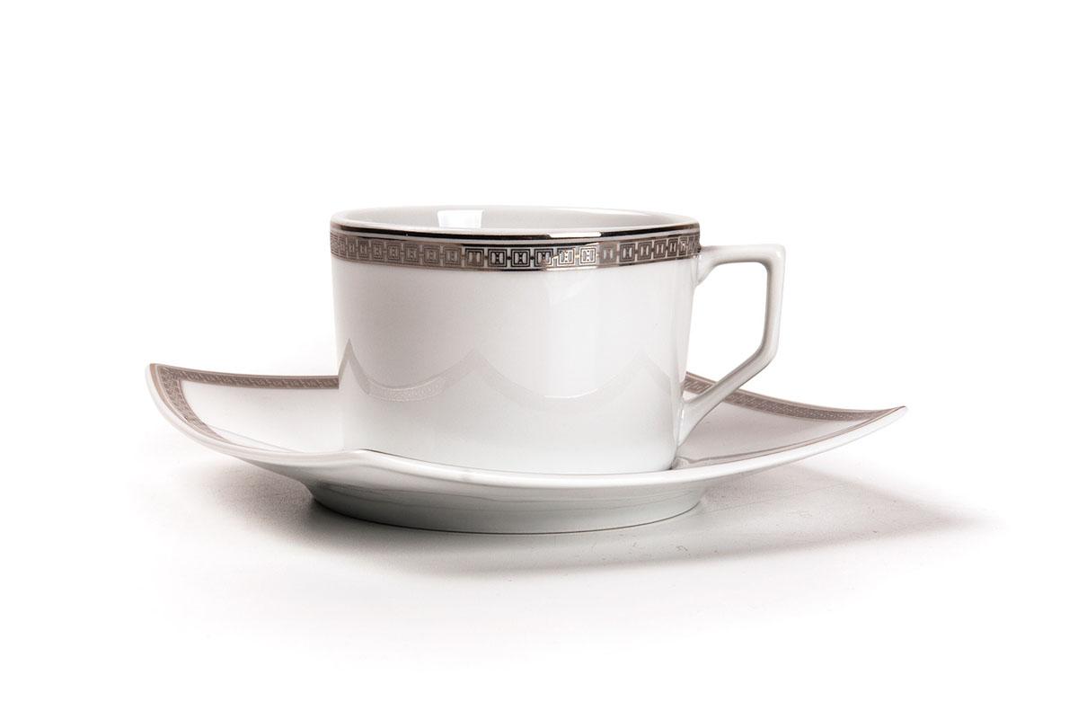 Kyoto 1554 набор чайных пар, 12пр, цвет: белый с платиной