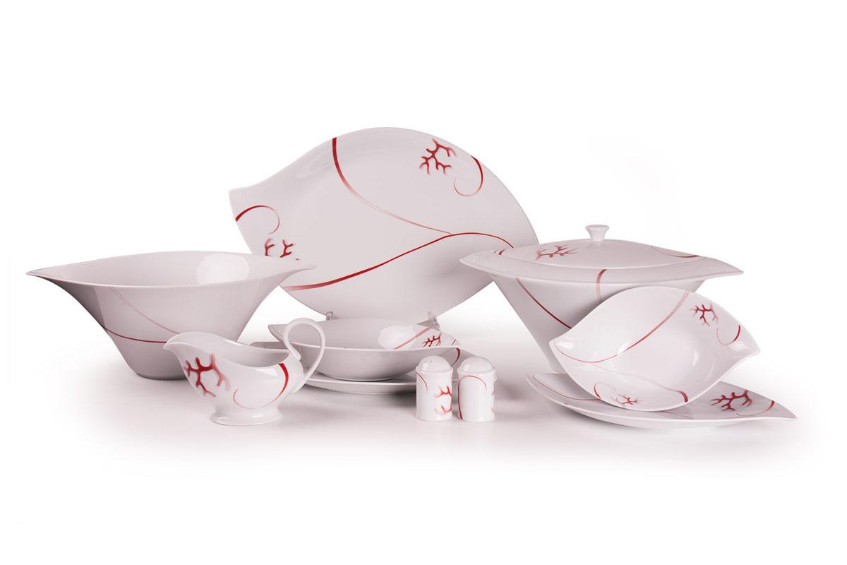 Feuille 0544 столовый сервиз 25пр, цвет: белый с красным739025 0544Супница 3 л , глубокая тарелка 22 см 6 штук , тарелка 27см 6 штук , десертная тарелка 21см 6 штук , солонка, перечница, Блюдо овальное 24 см, Блюдо овальное 35 см , салатник 25см, соусник 230мл.Элегантная посуда класса люкс теперь на вашем столе каждый день. Сделанные из высококачественного материала с использованием новейших технологий, предметы сервировки Tunisie Porcelaine невероятно прочны и прекрасно подходят для повседневного использования. Материал: фарфор: цвет: белый с краснымСерия: FEUILLE