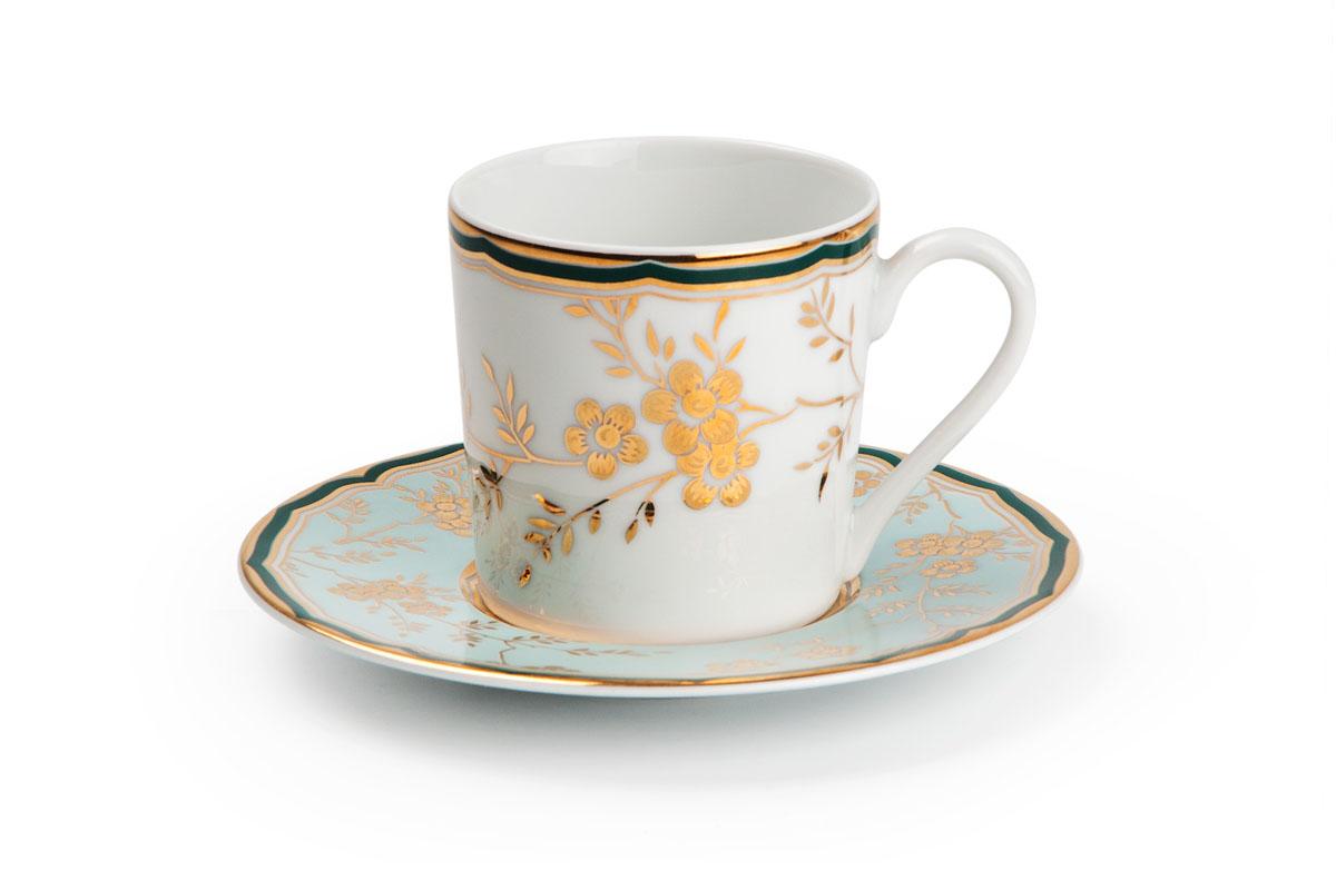 Набор кофейных пар * 6, цвет: бело-голубой с золотом839006 2130Кофейная пара 120 мл * 6 штук/ 12 предметов Материал: фарфор: цвет: бело-голубой с золотомСерия: ZEN