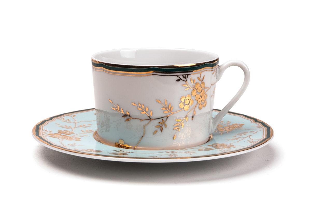 Набор чайных пар, 6шт/уп, цвет: бело-голубой с золотом tunisie porcelaine набор чайных пар 6шт 719506 1555