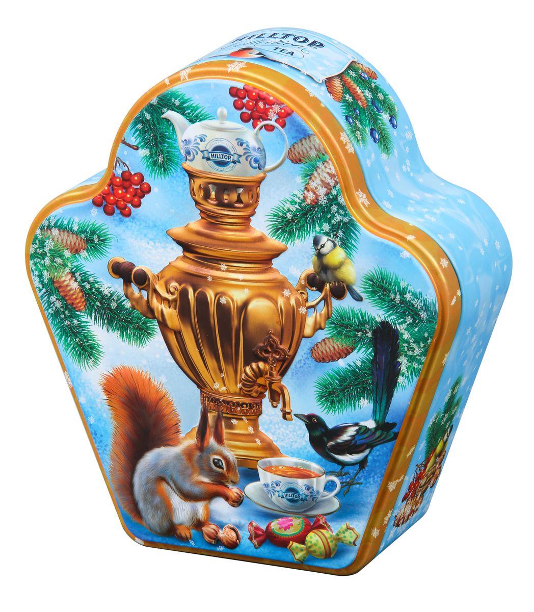 Hilltop Зимнее чаепитие черный листовой чай, 100 г4607099306035Hilltop Зимнее чаепитие - особо крупнолистовой цейлонский черный чай с насыщенным ароматом и терпким вкусом прекрасно тонизирует и согревает в любое время дня! Оригинальный дизайн упаковки с изображением чаепития, которое устроили лесные зверюшки у самовара, развеселит и подарит хорошее настроение всем, кому достанется в подарок этот чай!