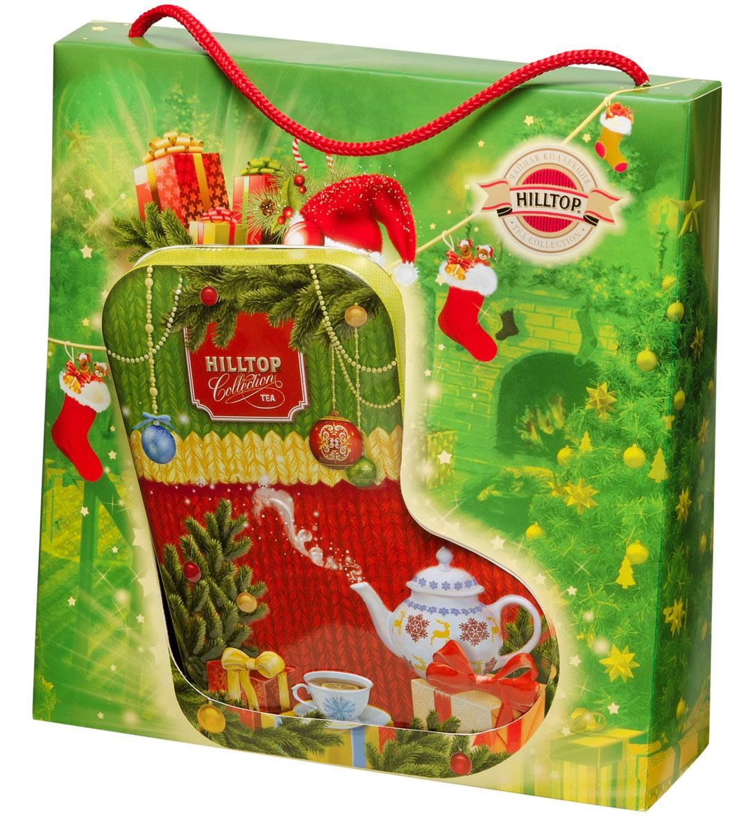 Hilltop Новогоднее чаепитие чайный набор4607099305977Hilltop Новогоднее чаепитие порадует вас и ваших близких глубоким насыщенным вкусом и изумительным ароматом черного крупнолистового цейлонского чая. Яркий праздничный дизайн упаковки ввиде красочного валенка делает этот чай отличным подарком к Новому Году и Рождеству для ваших друзей и родных.Всё о чае: сорта, факты, советы по выбору и употреблению. Статья OZON Гид