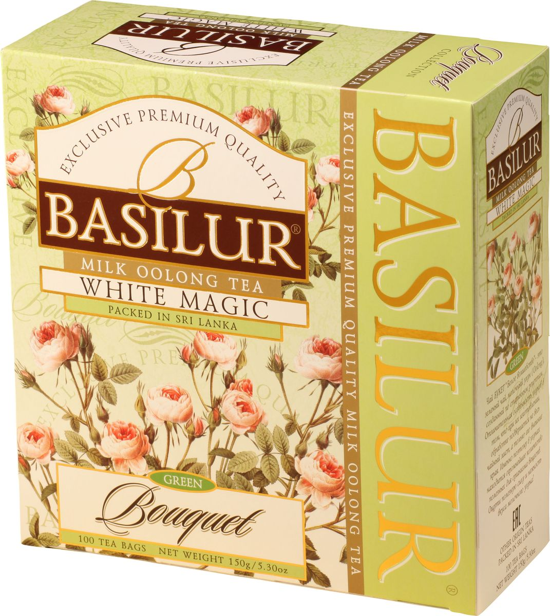 Basilur White Magic зеленый чай в пакетиках, 100 шт чайники и кофейники на кухню basilur