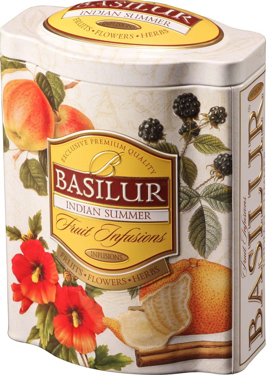 Basilur Indian Summer фруктовый листовой чай, 100 г (жестяная банка)70526-00Basilur Indian Summer - фруктовый чай с кусочками яблока, изюма и ежевики, шиповником и корицей, гибискусом, цедрой апельсина, бутонами розы и лепестками подсолнечника, ароматами алоэ, апельсина и сливок. Композиция из яблока, изюма, шиповника и других компонентов, которые предоставляют собой богатые ароматы Индии, будет прекрасным дополнением к любому пряному блюду. Также напитком можно наслаждаться теплыми летними днями в охлажденном виде.Всё о чае: сорта, факты, советы по выбору и употреблению. Статья OZON Гид