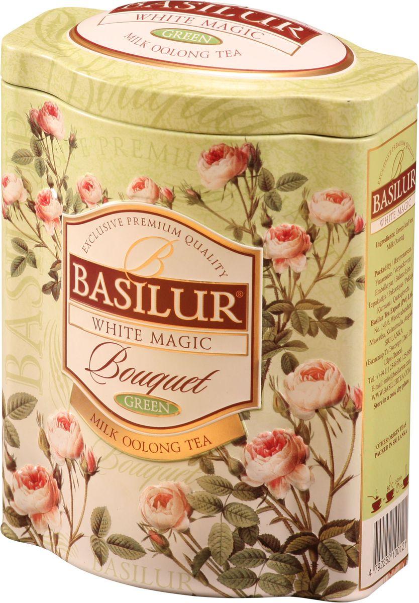 Basilur White Magic зеленый листовой чай, 100 г (жестяная банка)70147-00Зеленый китайский байховый листовой чай улун Basilur White Magic с молочным ароматом в подарочной упаковке несомненно придется по вкусу всем любителям этого полуферментированного чая!Это уникальное сочетание молочного зелёного чая улун, который составляет основу старинной традиционной рецептуры приготовления напитка восхитительного вкуса и аромата.