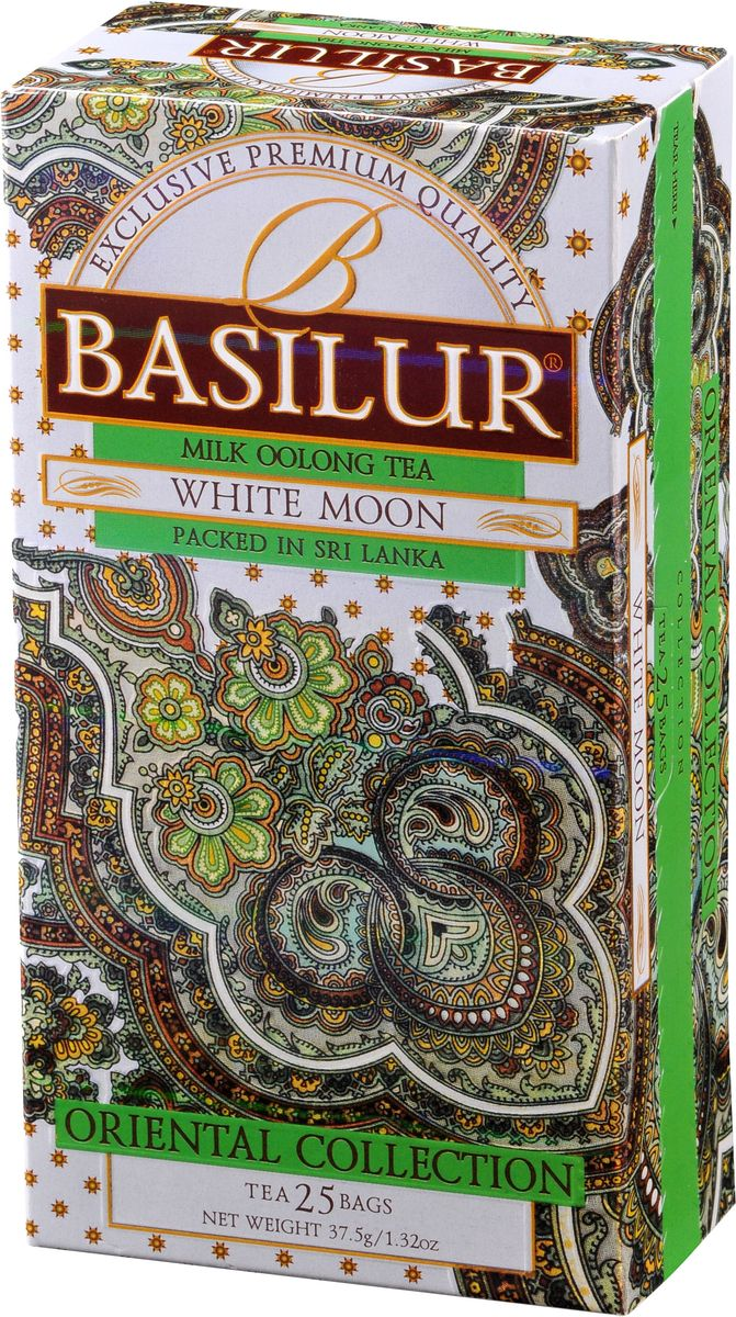 Basilur White Moon зеленый чай в пакетиках, 25 шт