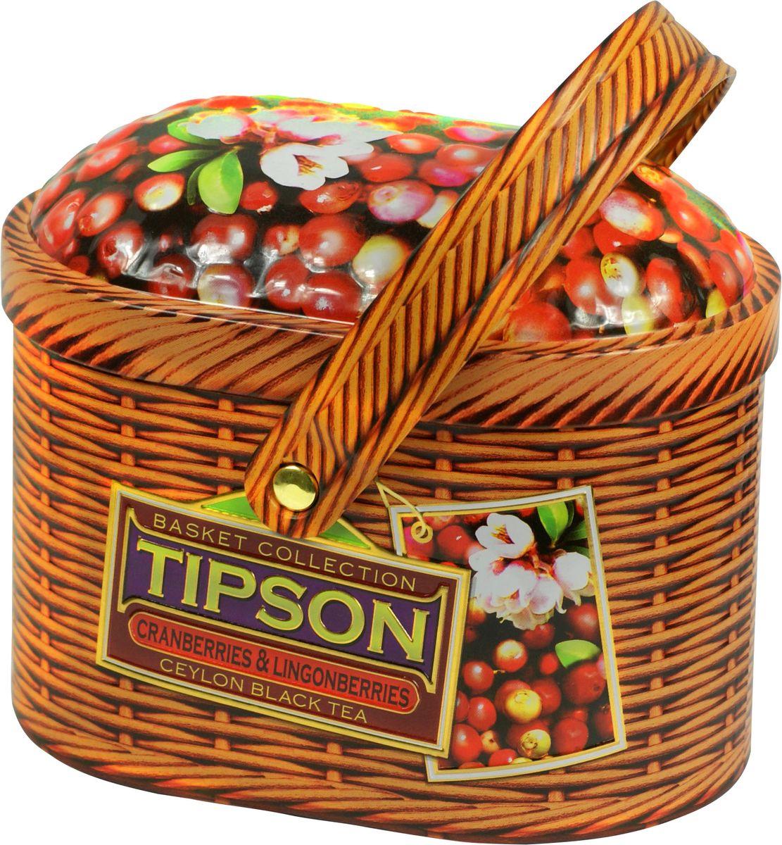 Tipson Cranberries and Lingonberries черный листовой чай, 100 г (жестяная банка) tipson pearl зеленый листовой чай 75 г жестяная банка