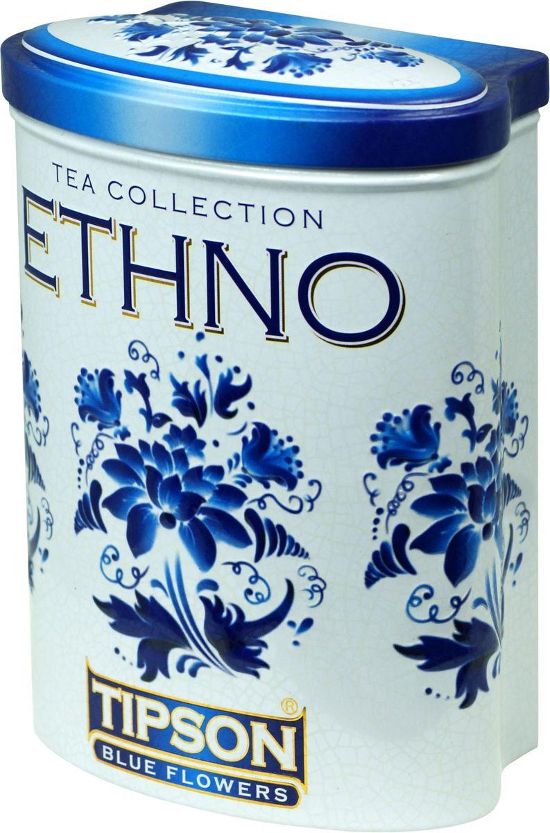 Tipson Blue Flowers черный листовой чай, 100 г (жестяная банка) tipson pearl зеленый листовой чай 75 г жестяная банка