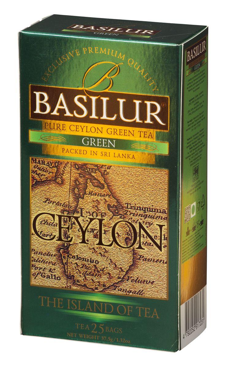 Basilur Green зеленый чай в пакетиках, 25 шт чай basilur basilur чайная шкатулка павлония