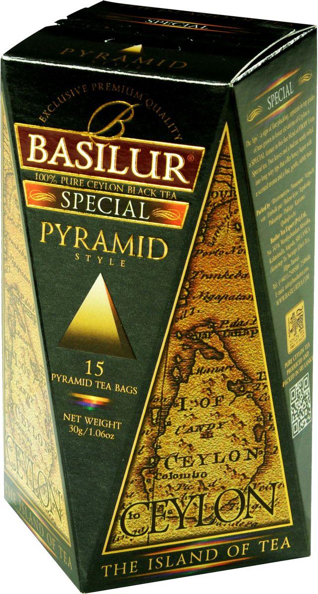 Basilur Special черный чай в пакетиках, 15 шт71012-00Чай чёрный цейлонский байховый листовой Basilur Special в пирамидках с типсами. Чайные почки - типсы - являются отличительным признаком высокого качества чая класса премиум. Два аккуратно скрученных листка и почка при заваривании создают неповторимый медовый аромат и тонкий нежный вкус - это и есть Basilur Особый чай стандарта FBOP Extra Special, выращенный на горных склонах острова Цейлон.