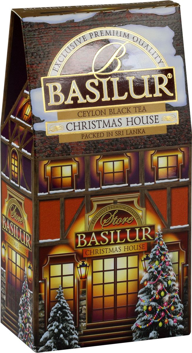 Basilur Christmas House черный листовой чай, 100 г71083-00Basilur Christmas House - черный байховый листовой чай с лепестками белого и красного василька, а также ароматами ванили, лимона и апельсина. Праздничная упаковка будет великолепно смотреться на новогоднем застолье в кругу семьи.