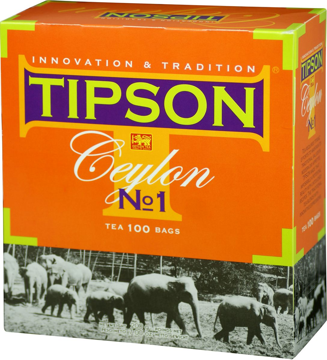 Tipson Ceylon №1 черный чай в пакетиках, 100 шт80003-00Чай чёрный цейлонский байховый мелколистовой Tipson Ceylon №1 в пакетиках с ярлычками для разовой заварки. Чай, произрастающий на острове Цейлон, давно признан лучшим в мире. Наши эксперты предлагают Вам чай №1, в котором найден гармоничный баланс между силой вкуса и элегантностью аромата.Всё о чае: сорта, факты, советы по выбору и употреблению. Статья OZON Гид