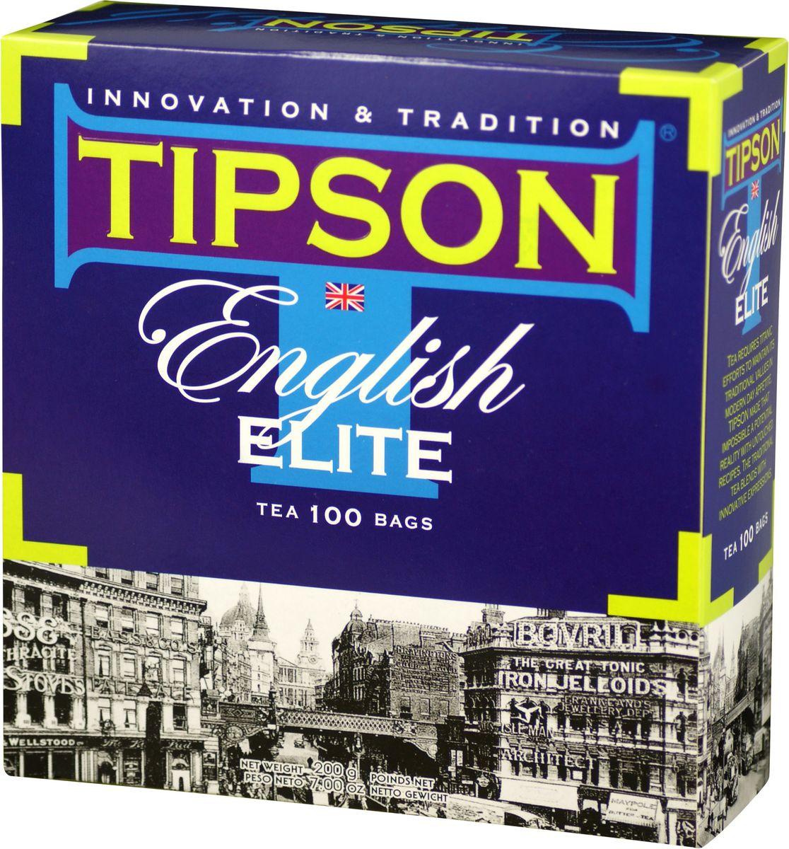 Tipson English Elite черный чай в пакетиках, 100 шт80012-00Чай чёрный цейлонский байховый мелколистовой Tipson English Elite с ароматом бергамота в пакетиках с ярлычками для разовой заварки. Этот элитный чай с лёгким оттенком бергамота создан в лучших английских традициях. Он способствует отдыху, пробуждает вдохновение и дарит моменты наслаждения.
