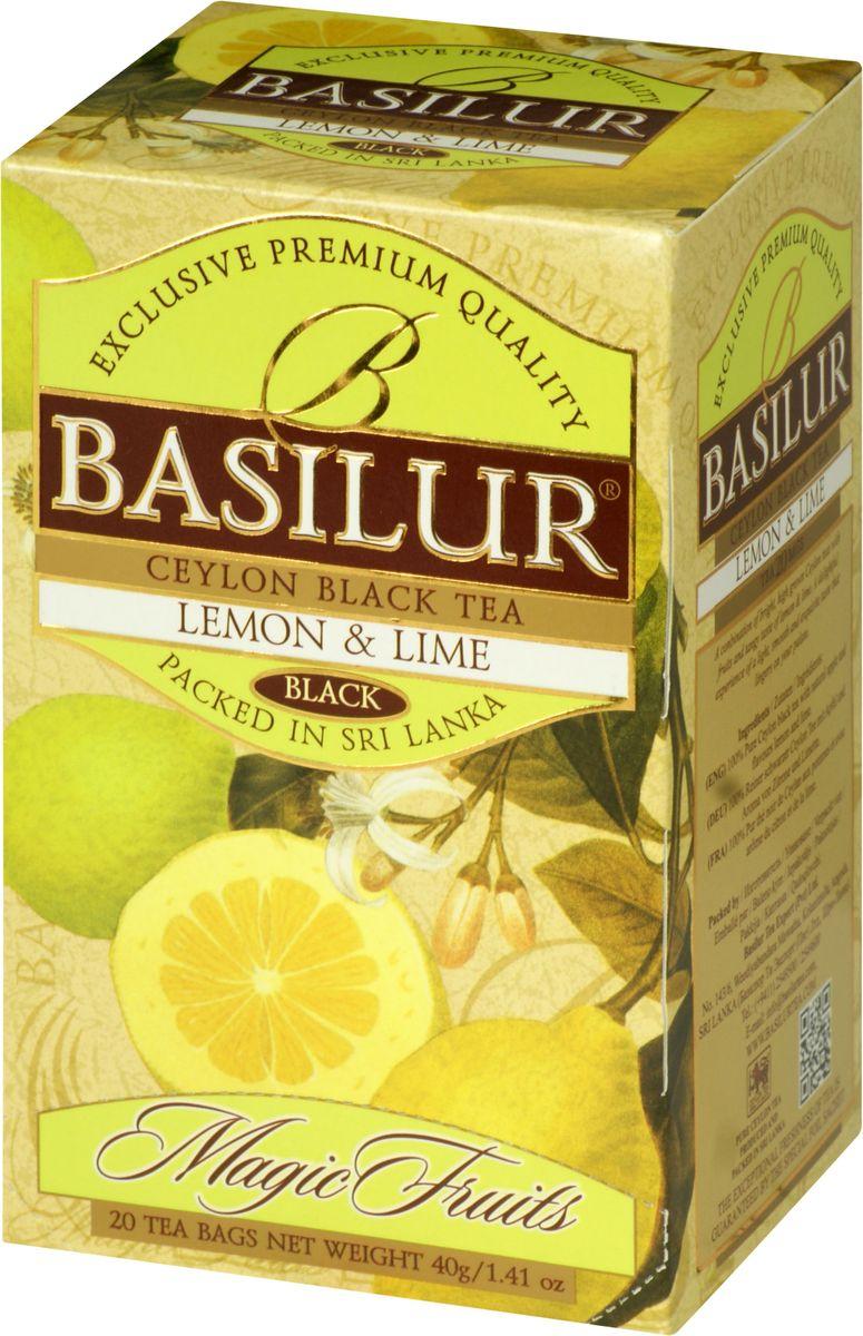 Basilur Lemon and Lime черный чай в пакетиках, 20 шт70180-00Чай чёрный цейлонский байховый мелколистовой Basilur Lemon and Lime с яблоком и ароматами лимона и лайма в пакетиках с ярлычками для разовой заварки. Великолепный купаж элитных сортов чёрного высокогорного цейлонского чая, дополненный свежим, лёгким ароматом лимона и лайма, создает неповторимый вкус Basilur Lemon & Lime, оставляющий нежное и мягкое послевкусие.Всё о чае: сорта, факты, советы по выбору и употреблению. Статья OZON Гид
