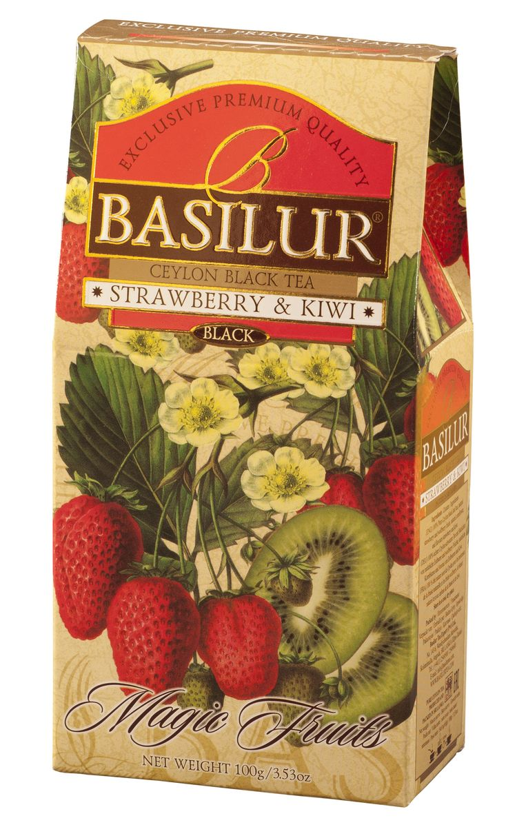 цены Basilur Strawberry & Kiwi черный листовой чай, 100 г
