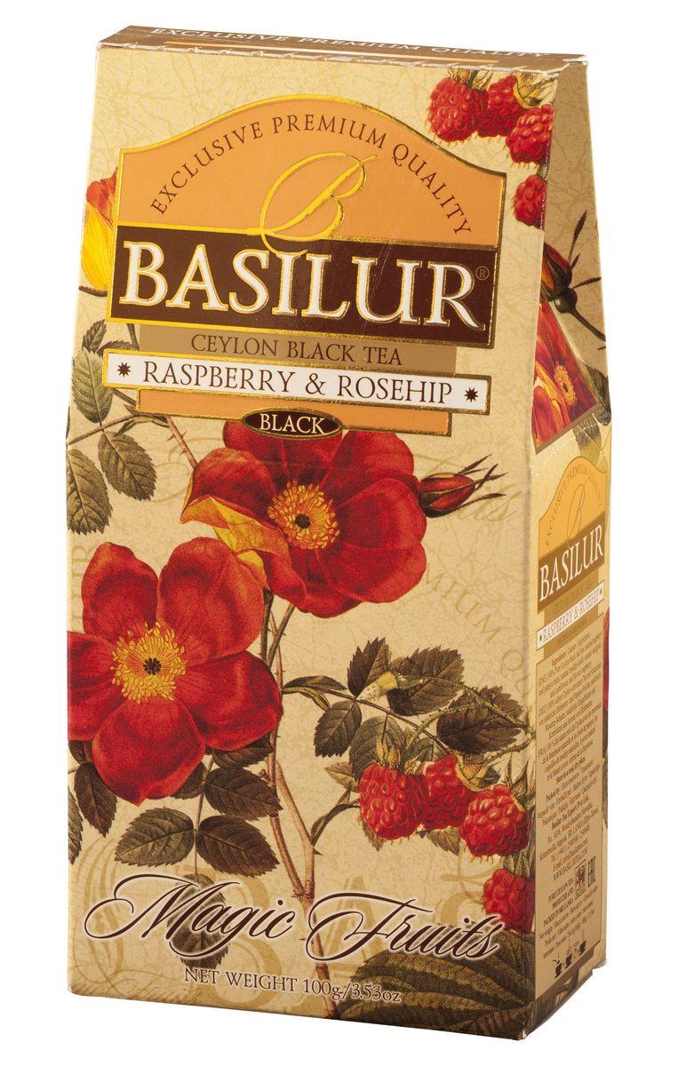 где купить Basilur Raspberry and Rosehip черный листовой чай, 100 г по лучшей цене